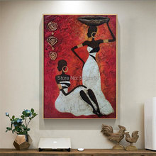 Handmade abstract african woman painting on canvas red wall art africa figure picture for living room, home decoration