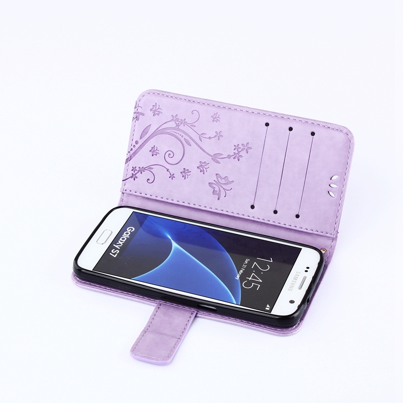 Flip Wallet PU Leather Cover Soft TPU Case Card Holder Fashion For Samsung Galaxy S4 S5 S6 S7 edge Butterfly Skin Stand Book