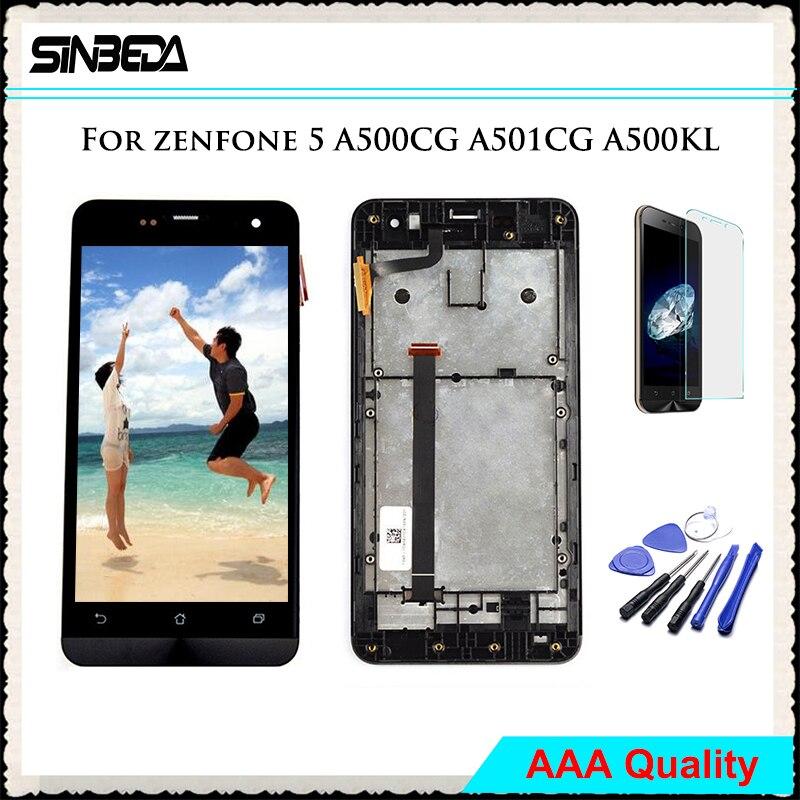 Sinbeda 5.0 Tela Pour ASUS Zenfone 5 A500CG A501CG A500KL T00J T00F T00P LCD Display + Écran Tactile Digitizer Avec Cadre Assemblée