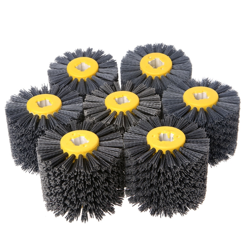 Deburring Abrasive Wire Drawing Round Brush Head Polishing Grinding Buffer Wheel free shipping drawing wheel 110 100mm drawing wool round 110mm drawing machine round tower wool polishing wheel