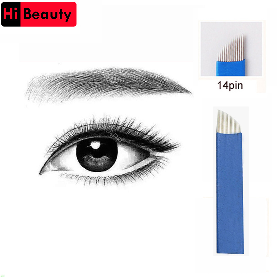 5pcs/lot Sterilized Blue 14 Pin 0.2mm Permanent Makeup Blade Manual Embroidery Eyebrow 3D Microblading Tattoo Needles