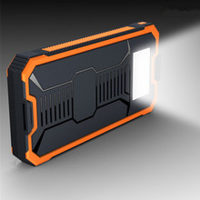 New Portable LED Lights Lighting Solar Power Bank 10000 mAh Outdoor Camping Powers Universal Mobile Power Charger Flashlight