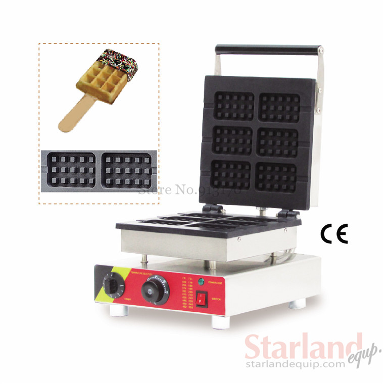Lolly waffle machine commercial waffle baker  with six pcs square moulds stainless steel commercial  making machine 110v 220v factory price automatic breakfast waffle maker commercial 4 pcs lolly waffle making machine for sale