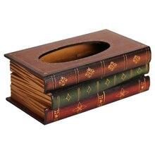 PQZATX caja de pañuelos con forma de libro estilo Retro, caja lujosa para servilletas, servilletero, caja de almacenamiento de pañuelos de anillo, Europa