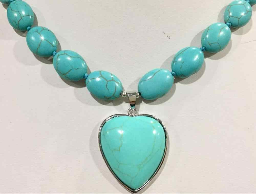 Turquoise ตุรกี Love สร้อยคอจี้ 18''