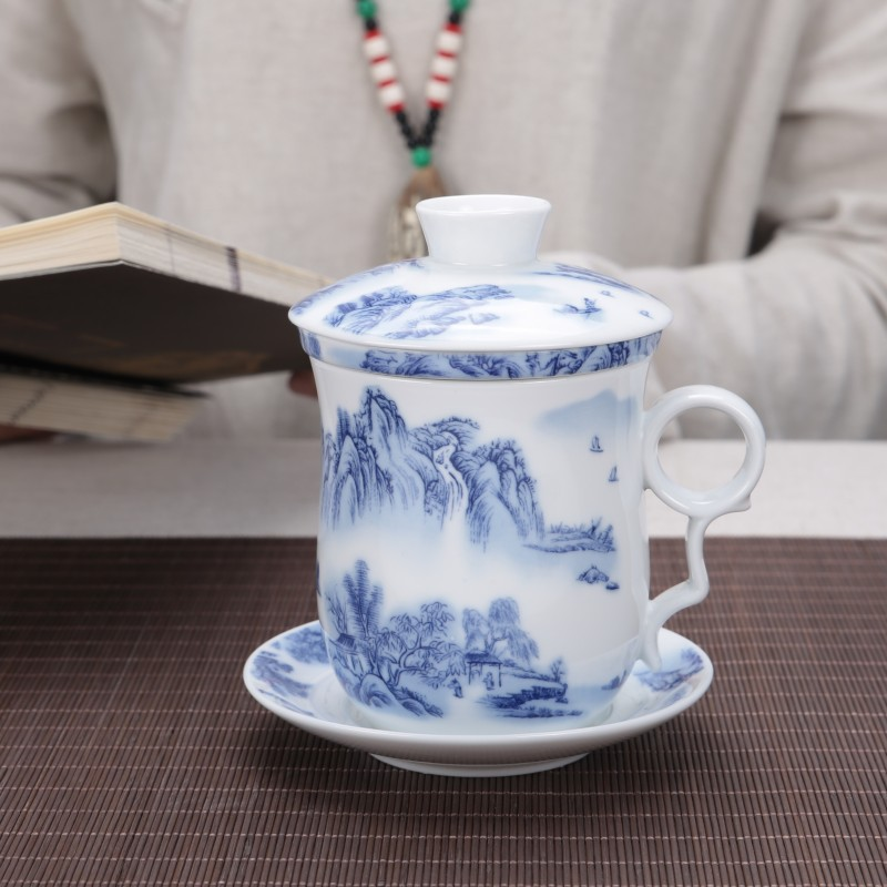 2018 New Bone Porcelain Office Ceramic Chinese Blue and White Kung Fu Tea Cups