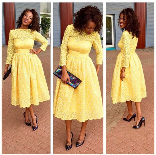 Yellow Tea Length Mother of the Bride Dress
