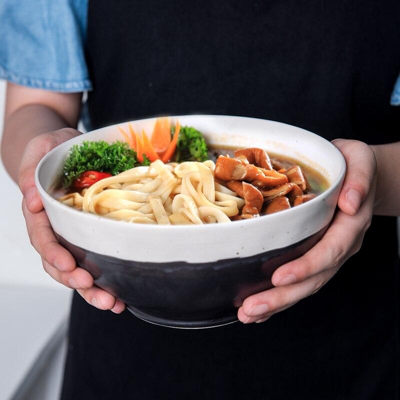 Japanese-style Vintage Ink White Ceramic Rough Pottery Home Tableware Rice Bowl Handmade Large Soup Noodles Salad Dessert Bowl