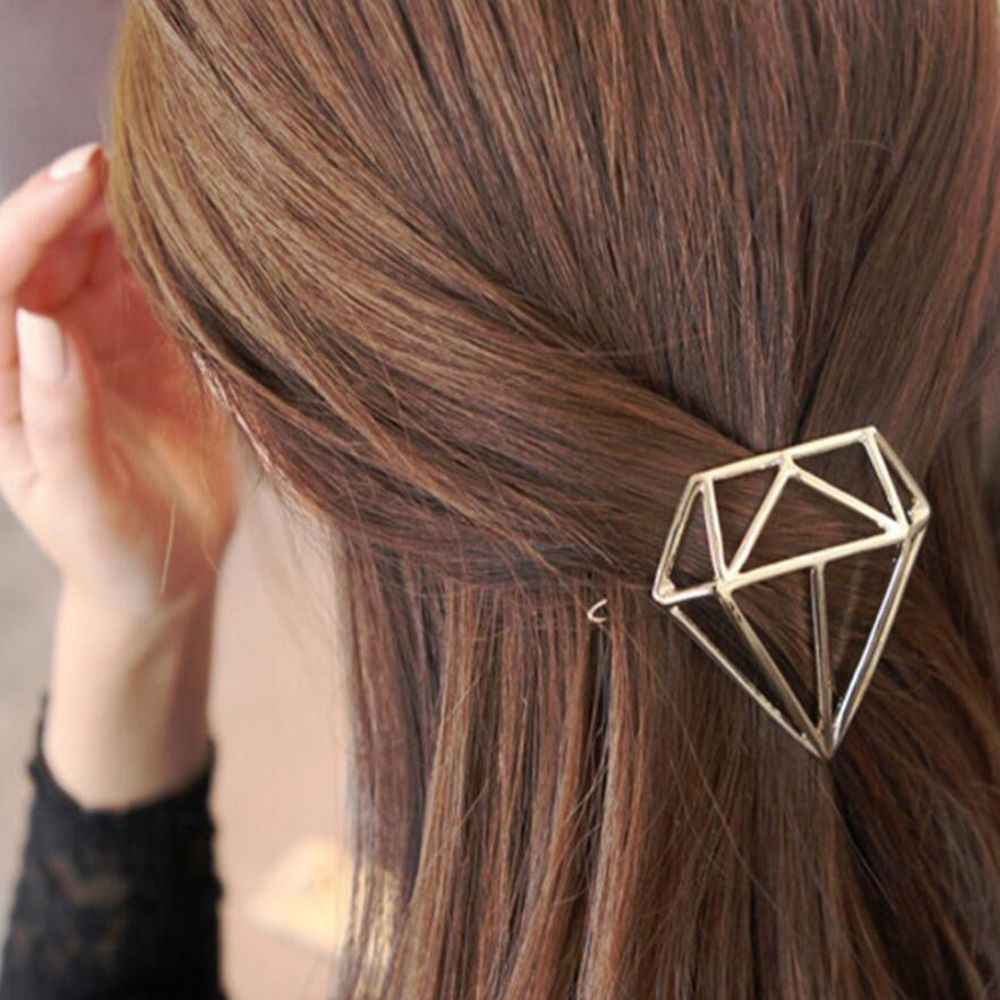 1PC Women korean Hair Clip Gold Silver Geometry Hairpins Cute Girls Barrettes Christmas Party Vaction Fashion Hair Accessories