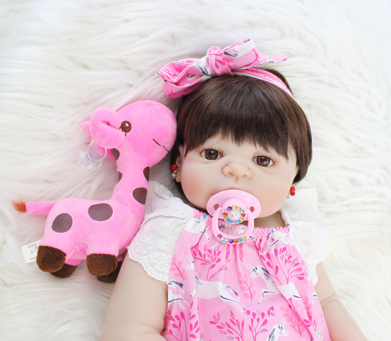 55cm Full Body Silicone Reborn Baby Doll Toy Vinyl Newborn Princess Babies With Giraffe Girl Bonecas Alive Bebe Kids Bathe Toy