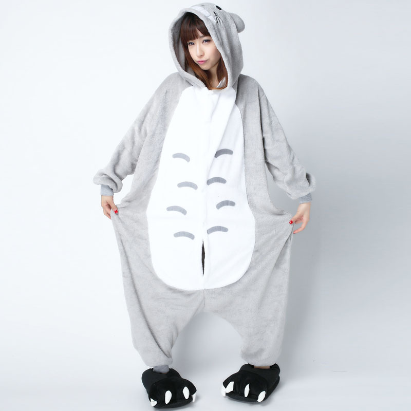 XXL Size Cartoon Totoro Onesie For Women Men Pajamas Night-suit Set At Home Sleep Adult Kigurumi For Halloween Cosplay Party