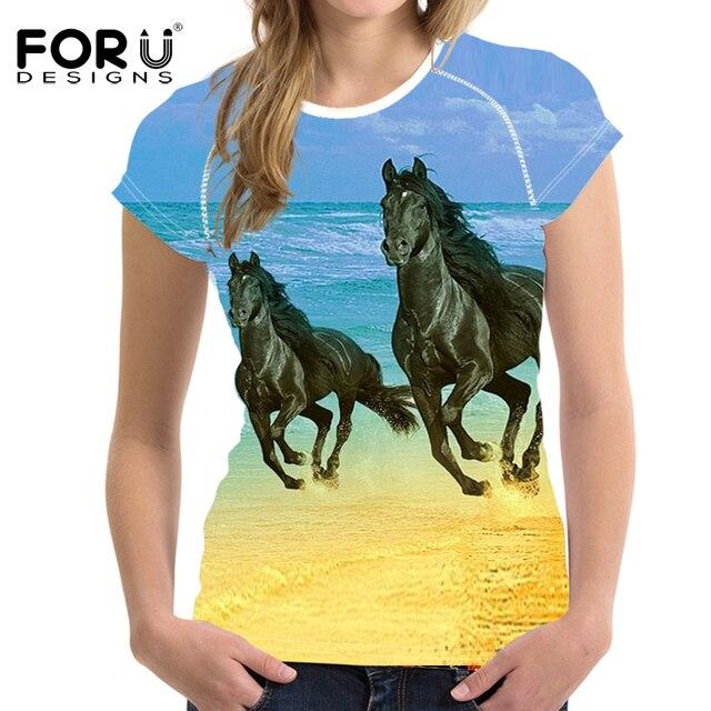 Woman T-shirt 3D Horse