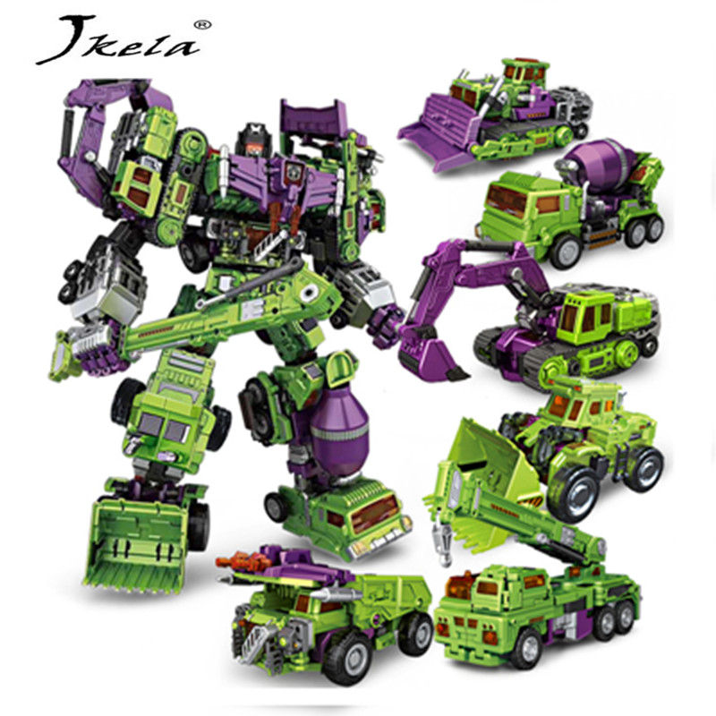 [Hot] Action figure ko Version Kids Classic Robot Cars Devastator Right Thigh Action Figure Toys For Children Model Toy 6 in 1 nbk transformation ko gt kids toys devastator robot cars action figure excavator crane scraper blender combiner model toy