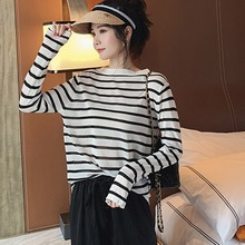 Women Round Neck Korean Style T Shirt Harajuku Top Long Sleeved Striped Tops female Tshirt Summer Casual 2019 New