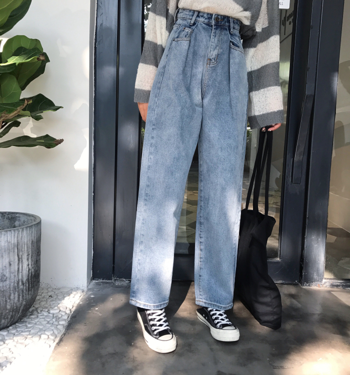 GUUZYUVIZ Loose Vintage Woman Jeans 17 Autumn Bleached Casual Boyfriend Curl Denim Wide Leg Pants Oversize High Waist Jean 2