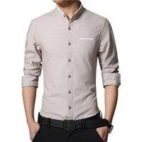 New Fashion Casual Men Shirt Long Sleeve Mandarin Collar Slim Fit Korean Clothes Business Male Solid Color Dress Shirts 87879