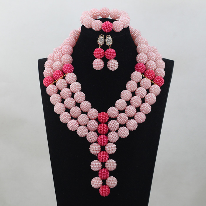 Balls Necklace Set Pink/Fushia Pink Balls African Beads Traditional Wedding Nigerian Jewelry Free ShippingABH036Balls Necklace Set Pink/Fushia Pink Balls African Beads Traditional Wedding Nigerian Jewelry Free ShippingABH036