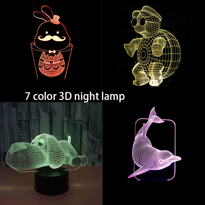 Fashion Cartoon Cute 3D Dolphin Led Night Light Lamps 7 Color Illusion Bedroom Table Desk Cafe Home Decor Rabbit Child Toy Gift
