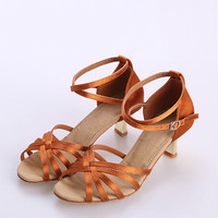 Women's Latin Shoes Women Standard Dance Shoes ClASSIC Fresh Tan Satin 5cm Low Heel Ladies Ballroom Dance