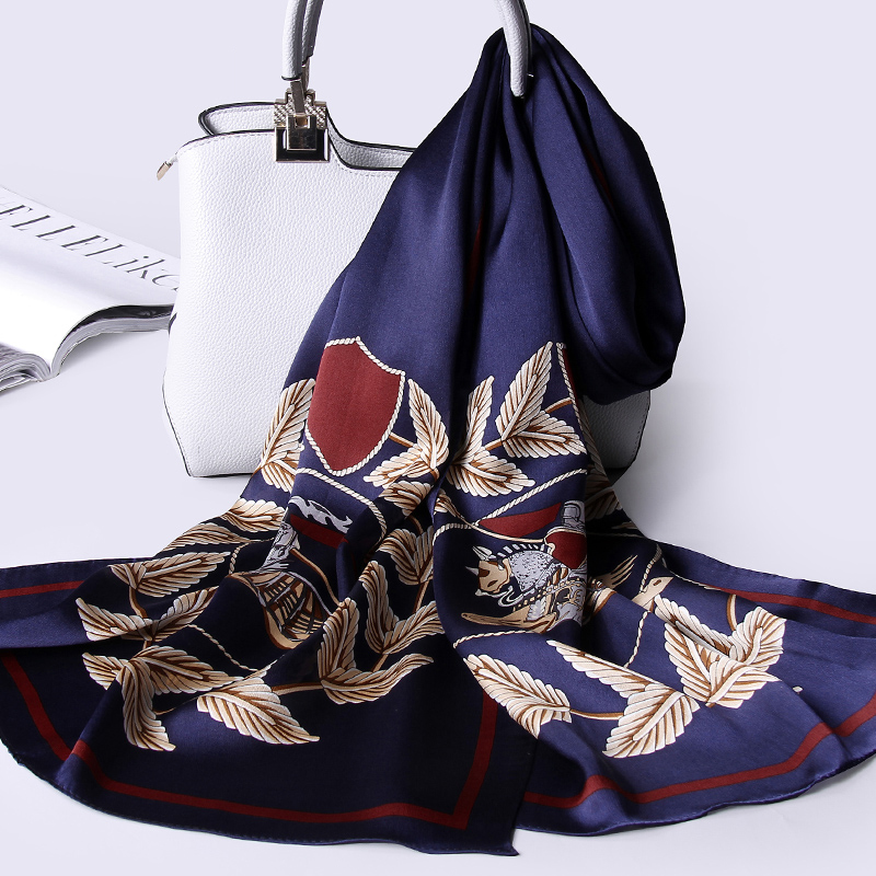 100% Real Silk Scarf Women 2019 Luxury Print Hangzhou Silk Shawls and Wraps for Ladies Natural Pure Silk Scarves Foulard Femme