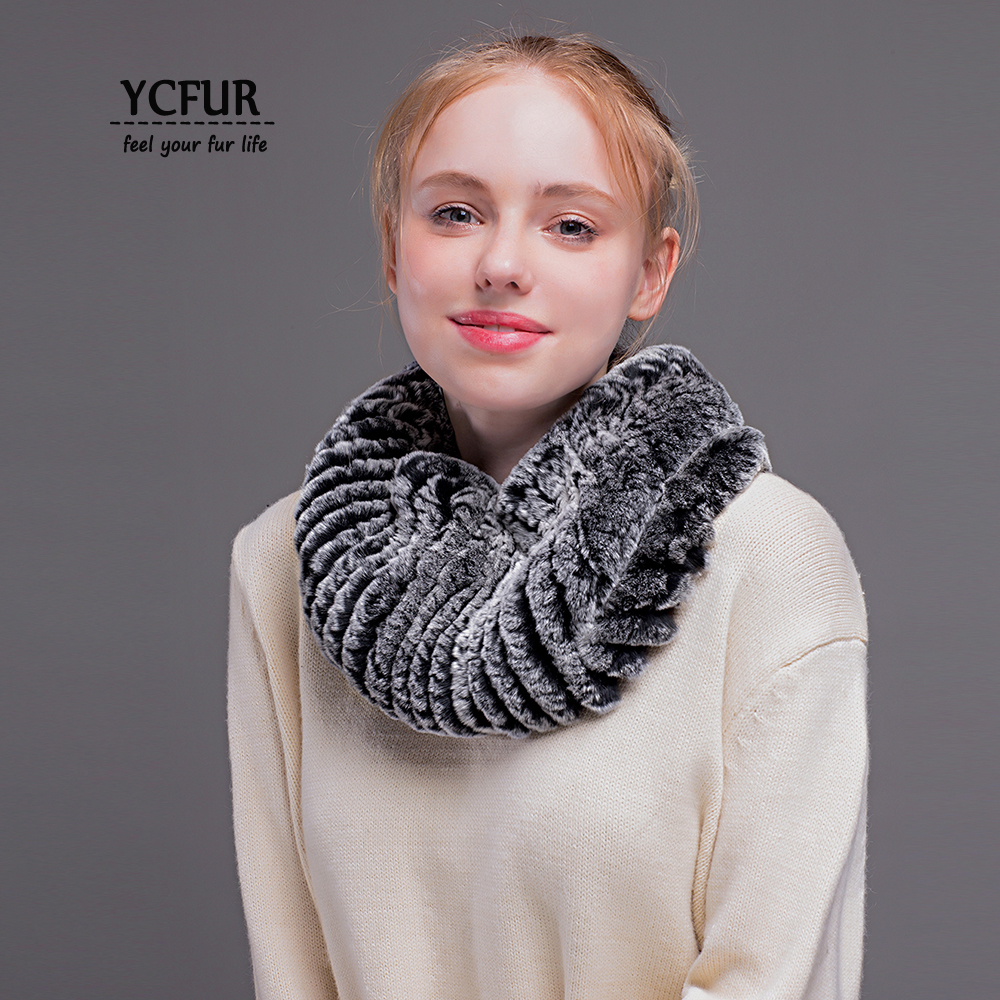 [YCFUR] Women Neck Warmer   Scarf   Winter Elastic Rex Rabbit Fur   Scarves     Wraps   Female Soft Ring   Scarf   Women