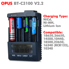 Authentic Original Opus BT-C3100 V2.2 LI-ion NiCd NiMh LCD Smart Intelligent AA AAA 26650 18650 Battery Charger Free Shipping