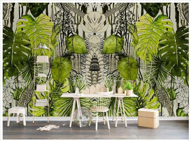 3d peintures murales image fond d 39 cran personnalis murale papier peint simple plante tropicale. Black Bedroom Furniture Sets. Home Design Ideas
