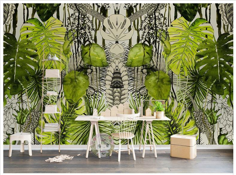 Us 12 21 45 Off Wall Murals Wallpaper Custom Picture Mural Paper Simple Tropical Plant Turtle Leaf Background Decor In