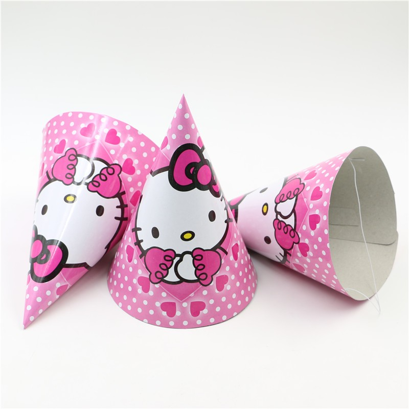 12PCS Party Supplies Cheering Toys Paper tricorn Cartoon hat Lovely Hello kitty Cap kids birthday Decoratin Favors Christmas