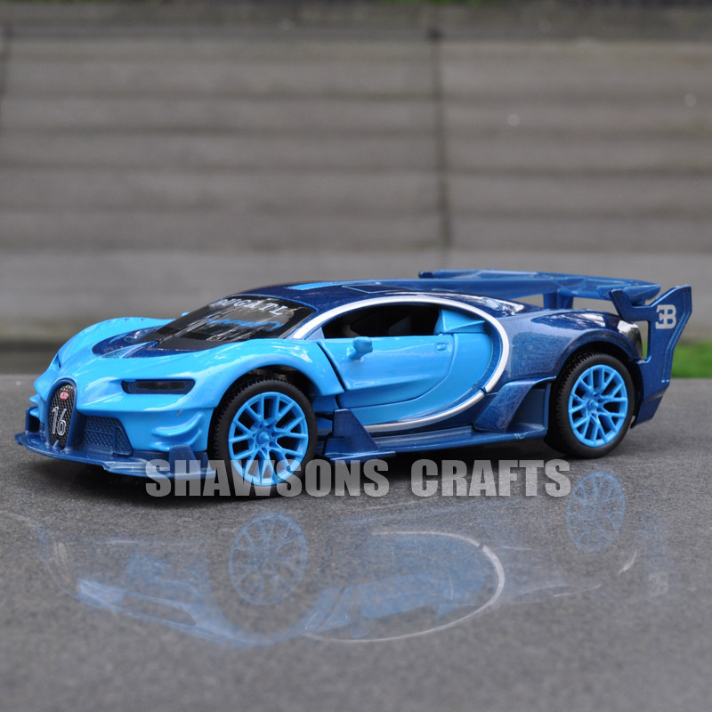 1 32 diecast model car toys pull back bugatti chiron vision gt sound light in diecasts toy. Black Bedroom Furniture Sets. Home Design Ideas