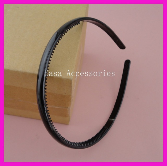 10PCS 8mm smooth plain Shiny Plastic Hair Headbands with teeth inside at free shipping,Bargain for Bulk