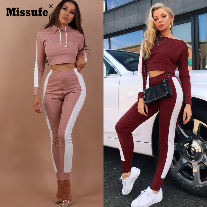 Missufe Autumn Tracksuit Women Long Sleeve Crop Top And Legging 2 Piece Set Woman Clothes Skinny Workout Sportswear Suit Female