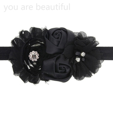 Two Rose Flowers Pearl Rhinestone Lovely Kids Girls Lace Hairband