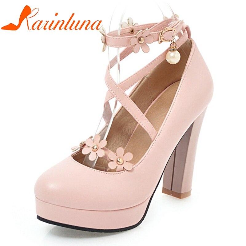 Chunky Wedding Heels: KARINLUNA Women's Ankle Strap Flower Chunky High Heel
