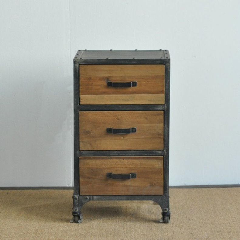 LOFT industrial retro style to do the old wrought iron bedside cabinet three Drawers lockers antique furniture loft american country to do the old retro furniture wrought iron bar chairs antique dinette living room leisure chair