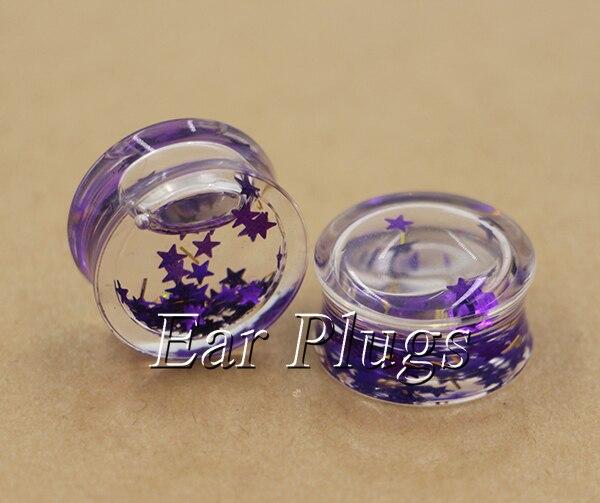 1 pair purple stars&gold stripes liquid ear plug gauges transparent acrylic flesh tunnel body piercing jewelry PLP0001