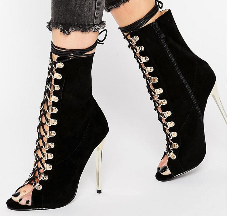 Newest Black Suede Leather Women Peep Toe Ankle Boot Metal High Heel Ladies Lace Up Knight Boots Ankle Bandage Female Boots cicime summer fashion solid rivets lace up knee high boot high heel women boots black casual woman boot high heel women boots