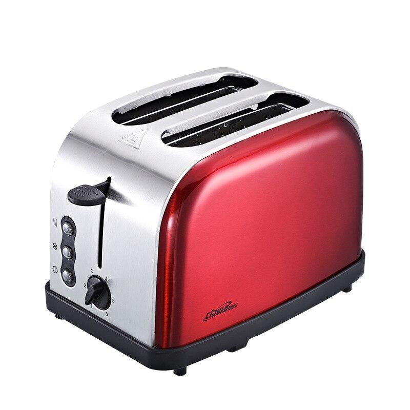 220 V grille pain petit déjeuner automatique cuisson Machine à pain avec 2 tranches de pain 6 niveaux de bronzage amovible ramasse miettes