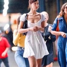 Bella Hadid Dress Women 2019Summer White Ruffles Beach Elegant Ladies Solid Sexy Off Shoulder Lace Up Mini Dresses