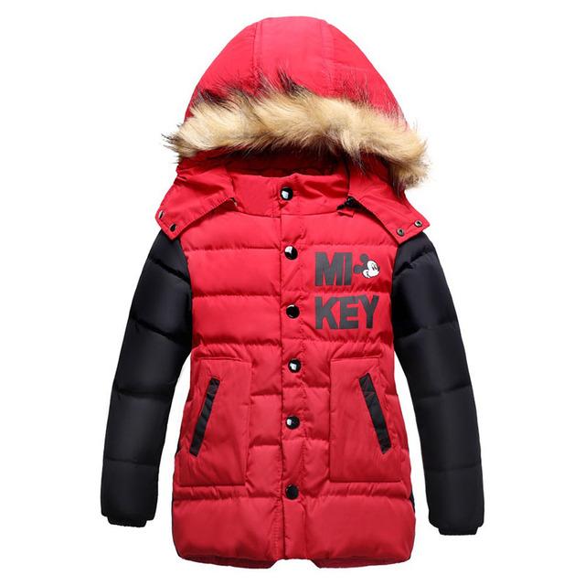 Niños Chaquetas de Invierno Y Abrigos de Down Capa Larga Con Capucha de Algodón Regular Moda Nuevos Hombres de Los Muchachos 2016 de La Moda-30 grado Chaquetas