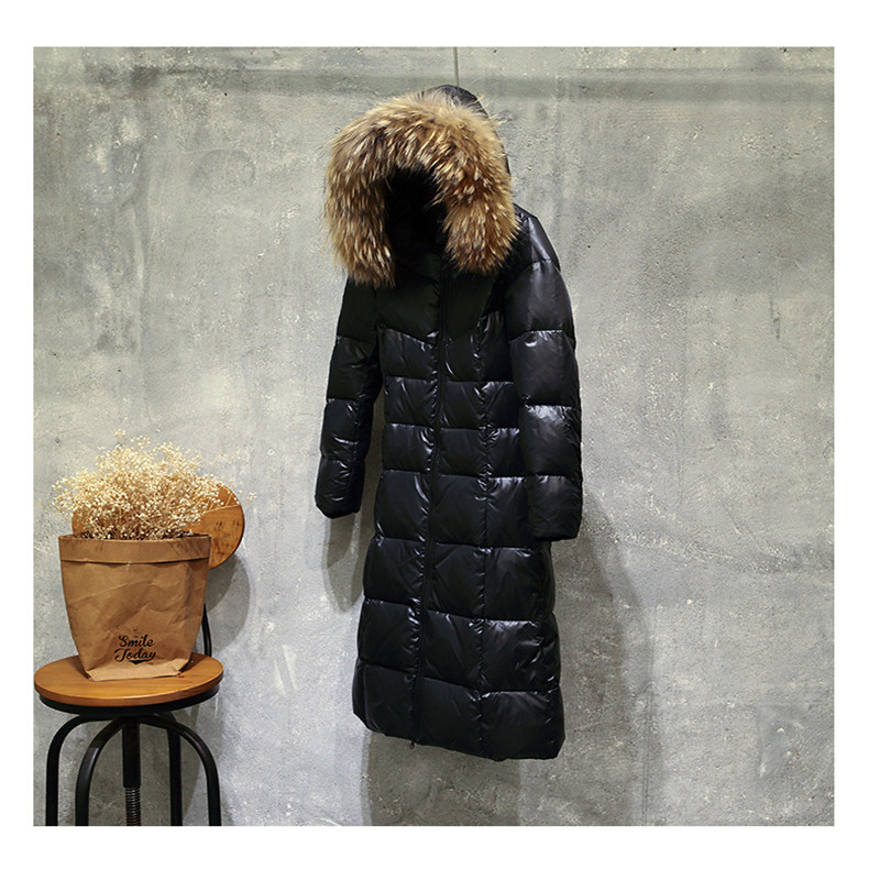 Image 3 - Sanishroly New Winter Women Big Fur Collar Hooded Coat Thicken White Duck Down Jacket Parka Female Long Outerwear Plus Size S412-in Down Coats from Women's Clothing