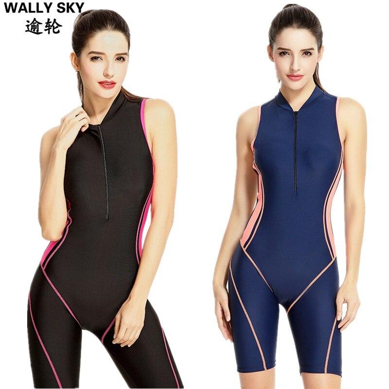Women's One Piece Swimsuit Boyleg Swimwear Woman Swimming