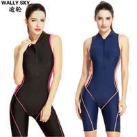Women's One Piece Swimsuit Boyleg Swimwear Woman Swimming Suit Leg Skin Kneeskin Sports Swimming Costumes Blue/Black Maillot