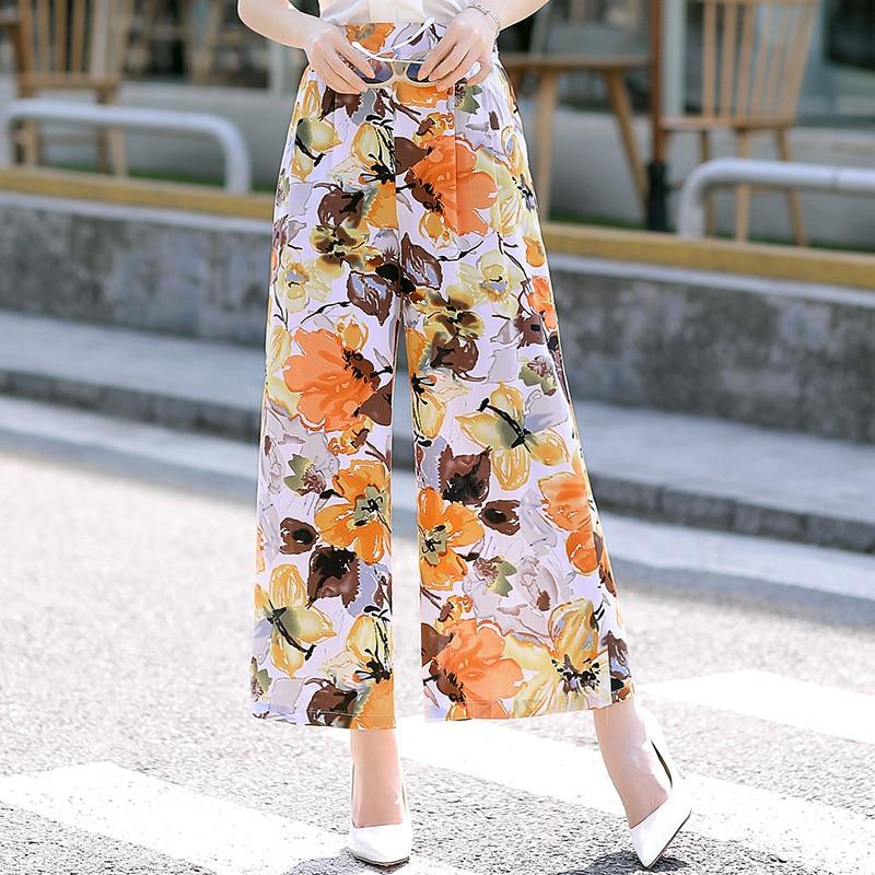 Women Floral Print Trousers Women Elastic High Waist Fashion Female Casual Streetwear   Wide     Leg     Pants   2019 Plus Size Summer   Pants