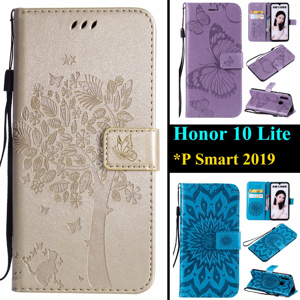 "Leather Phone Case For Huawei Honor 10 Lite 6.21"" Shell Cover For Huawei P Smart 2019 6.21-inch 3D Tree Cat Sunflower Butterfly"