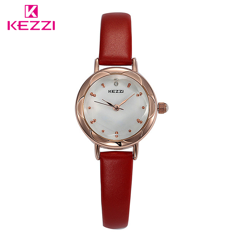 Fashion Brand KEZZI High Quality Slim Waterproof Women Dress Watch Ladies Analog Quartz Wrist Watches Leather Strap Girls Clock free shipping kezzi women s ladies watch k840 quartz analog ceramic dress wristwatches gifts bracelet casual waterproof relogio