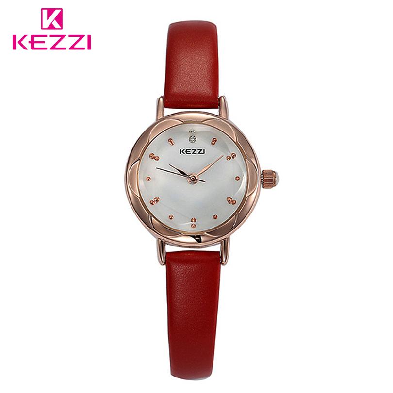 Prix pour Mode Marque KEZZI Haute Qualité Mince Étanche Femmes Robe Montre Dames Quartz Analogique Montres Bracelet En Cuir Filles Horloge