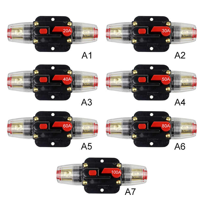 12V Mobil Truk Audio Resettable Fuse Circuit Breaker Penguat Audio Overload Perlindungan Fuse Holder DC 20A-100A