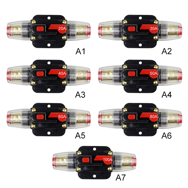 12V Car Truck Audio Resettable Fuse Circuit Breaker Audio Amplifier Overload Protection Fuse Holder DC 20A-100A12V Car Truck Audio Resettable Fuse Circuit Breaker Audio Amplifier Overload Protection Fuse Holder DC 20A-100A