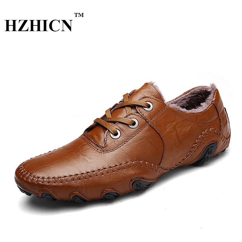 Men Genuine Leather Shoes Winter Short Plush Oxfords Lace Up Non-Slip Casual Flats Octopus High Quality Fashion Chaussure Homme dxkzmcm new men flats cow genuine leather slip on casual shoes men loafers moccasins sapatos men oxfords